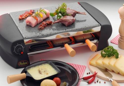 raclette z łopatkami i kamienną płytą
